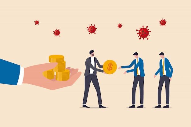 Covid-19 Coronavirus épidémie Crise Financière Aide Politique, Gouvernement Aide à Payer Le Salaire, Homme D'affaires Entrepreneur Gestionnaire Prend L'argent Du Gouvernement Donne Le Salaire Aux Employés, Virus Pathogène. Vecteur Premium