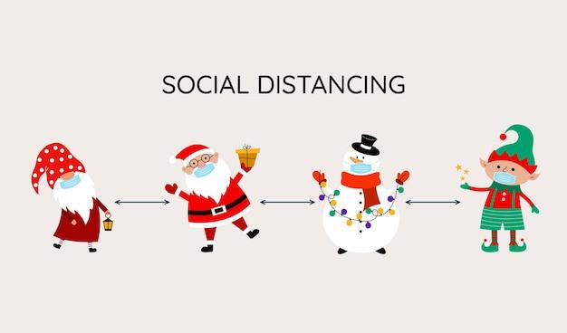 Covid-19 [feminine. Bannière De Noël Avec Le Père Noël, Gnome, Bonhomme De Neige, Elfe Dans Un Masque Médical Sur Leurs Visages. Vecteur Premium