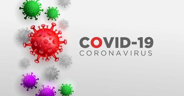 Covid coronavirus en concept d'illustration 3d réel pour décrire l'anatomie et le type du virus corona. Vecteur gratuit