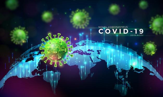 Covid19. Conception D'épidémie De Coronavirus Avec Cellule De Virus En Vue Microscopique Sur Fond De Carte Du Monde. Vecteur gratuit