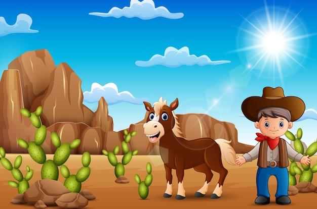 Cow-boy de dessin animé heureux avec cheval dans le désert Vecteur Premium