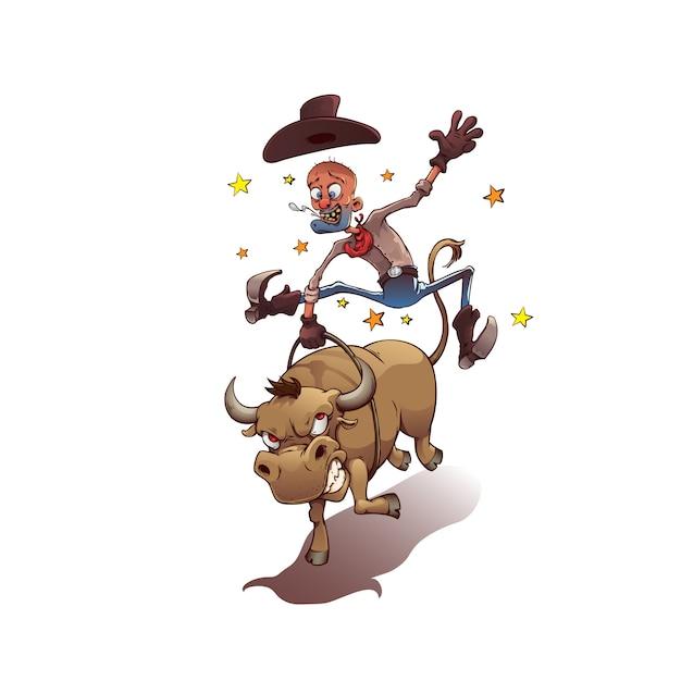 Cow-boy sur un taureau Vecteur Premium