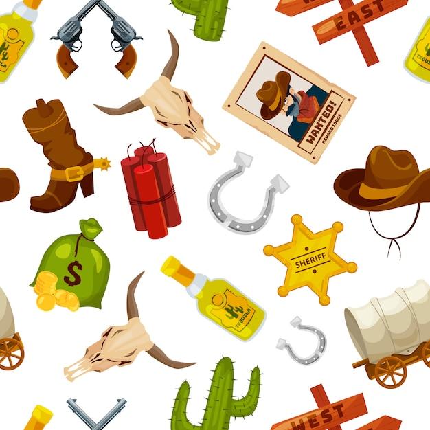 Cowboy, bottes, armes à feu et autres objets de far west dans un style bande dessinée. concept de far west vecteur transparente motif avec pistolet et cactus, illustration étoile et fer à cheval Vecteur Premium