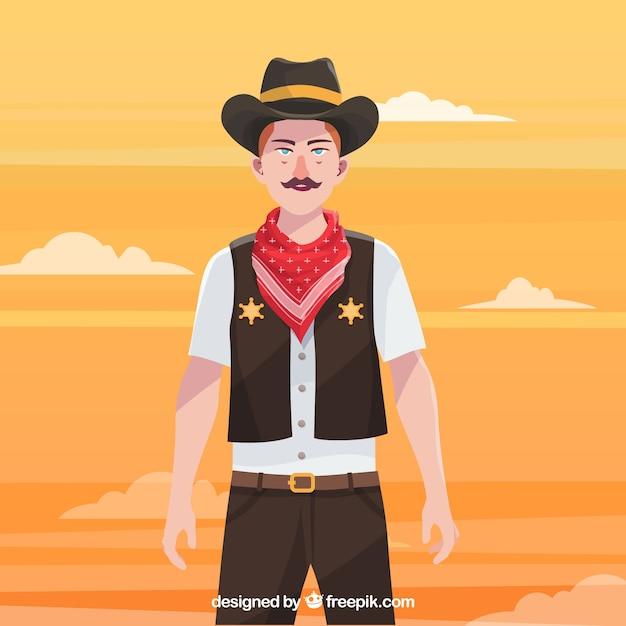 Cowboy Avec Chapeau Et écharpe Vecteur gratuit