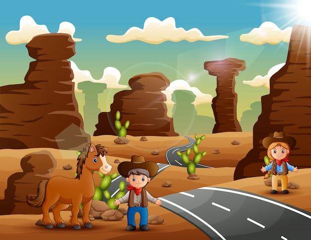 Cowboy de dessin animé et cow-girl avec des animaux sur la route du désert Vecteur Premium