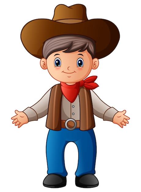 Cowboy De Dessin Animé Mignon | Vecteur Premium