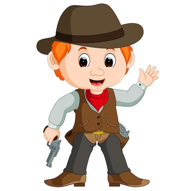 Cowboy drôle de bande dessinée Vecteur Premium