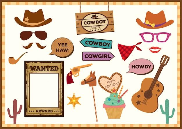 Cowboy-party-props Vecteur Premium