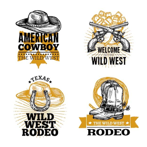 Cowboy Retro Emblems Vecteur gratuit