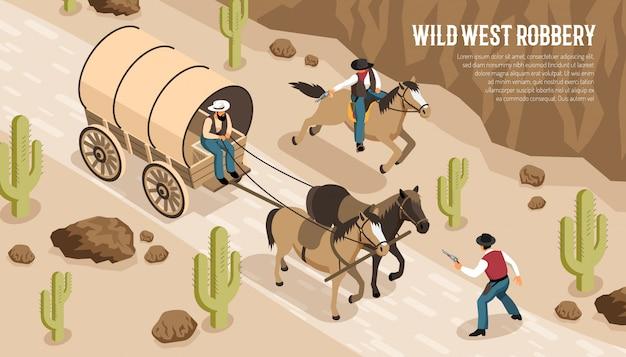 Cowboys En Chariot Et à Cheval Lors D'un Vol Dans L'ouest Sauvage à La Prairie Isométrique Horizontale Vecteur gratuit