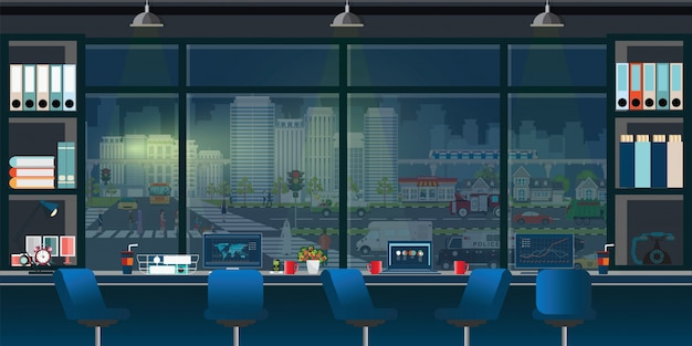 Coworking bureau intérieur du lieu de travail. Vecteur Premium