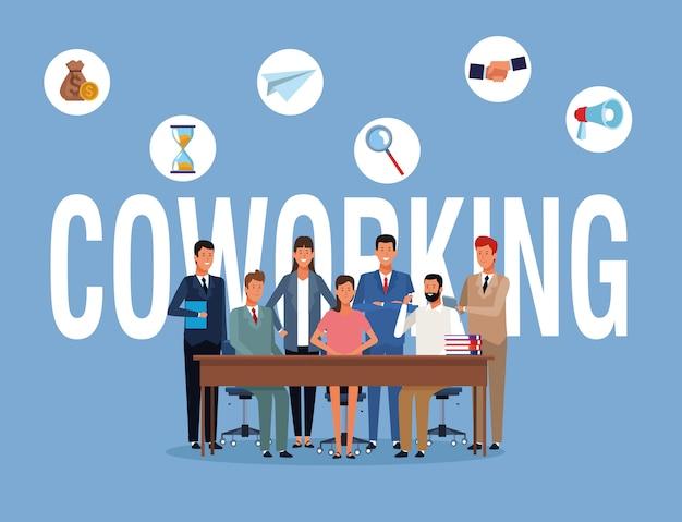 Coworking, gens affaires Vecteur Premium