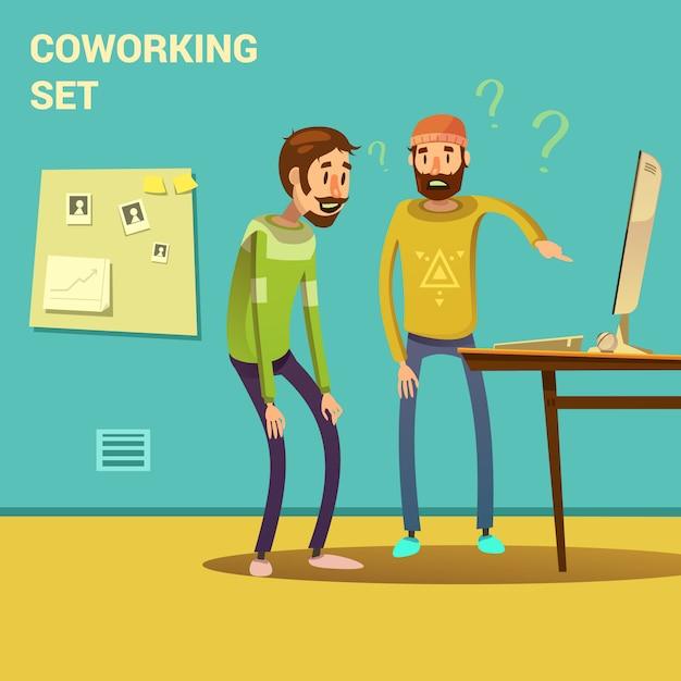 Coworking sertie de résolution de problèmes et solution symboles cartoon illustration vectorielle Vecteur gratuit