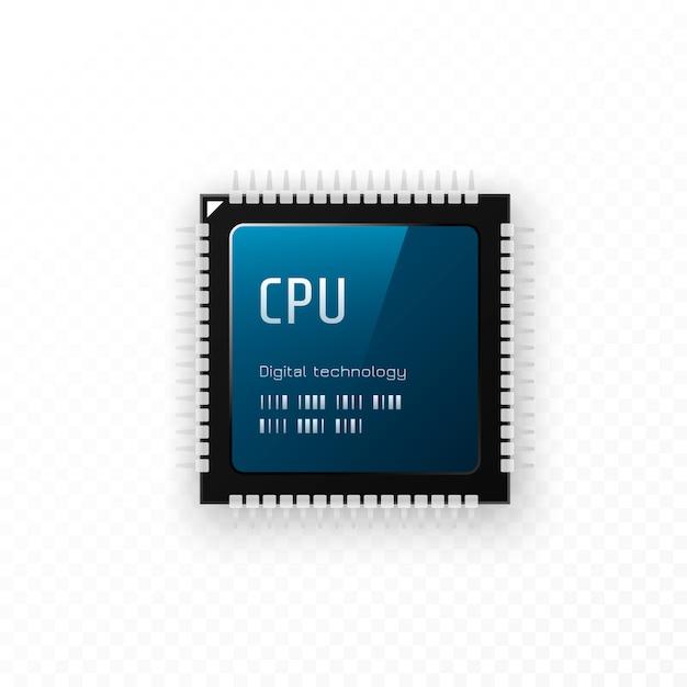 Cpu Isolé Sur Fond Transparent. Concept D'unité Microchip Vecteur Premium