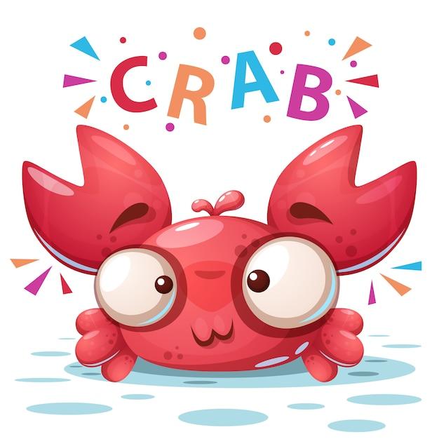 Crabe fou Vecteur Premium
