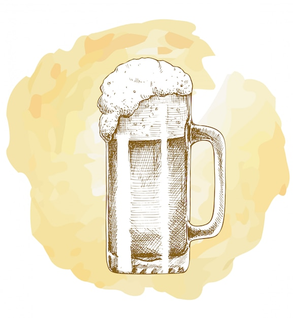 Craft beer object hand drawn vector sketch Vecteur Premium