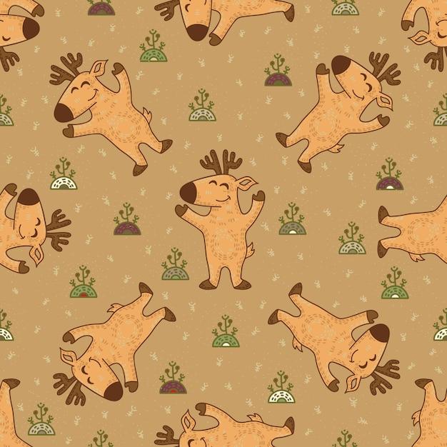 Craft doodle modèle sans couture tribal avec les cerfs. Vecteur Premium