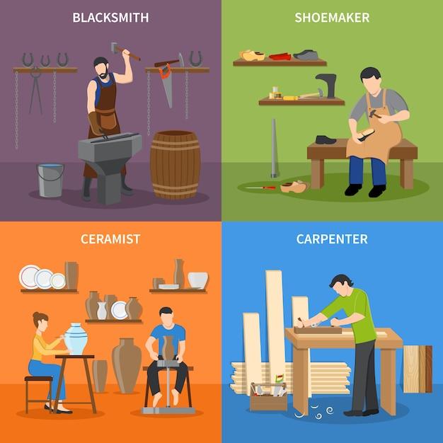 Craftsman flat characters set Vecteur gratuit