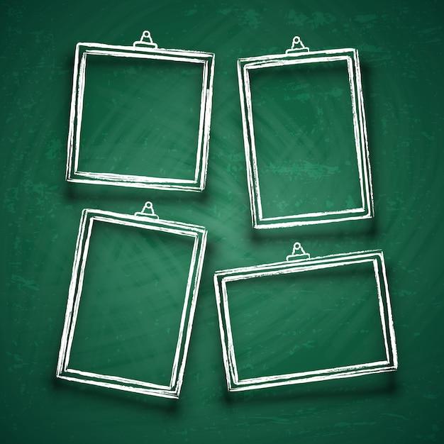 Craie cadres photo mignons. cadre d'image abstraite borde sur set de vecteur de carte verte Vecteur Premium