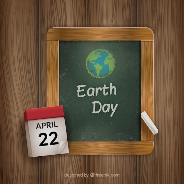 Craie Dessiné Jour De La Terre Vecteur gratuit