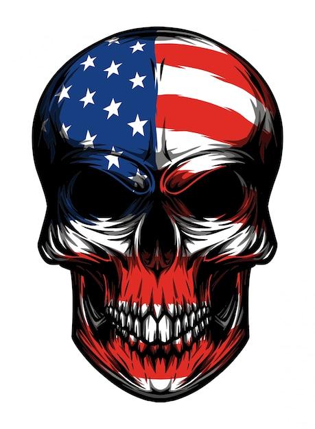Crâne Américain Vecteur Premium