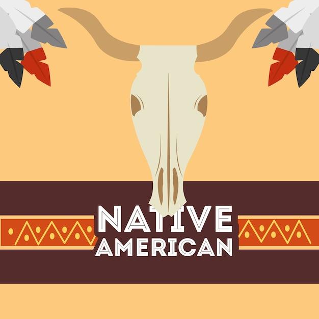 Crâne Amérindien Buffle Tribal Ethnique Vecteur Premium