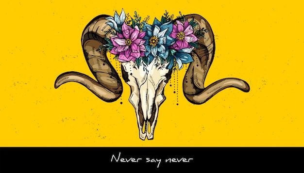 Crâne Animal Et Couronne De Fleurs Design. Illustration Vectorielle Dessinés à La Main Vecteur Premium