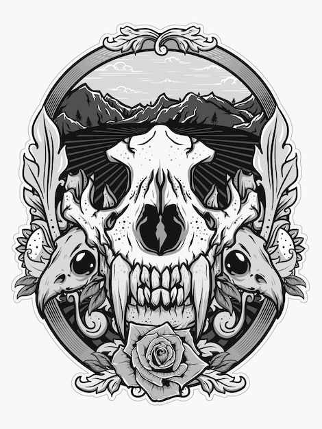 Crâne animal pour la conception de la chemise en concept blanc noir Vecteur Premium