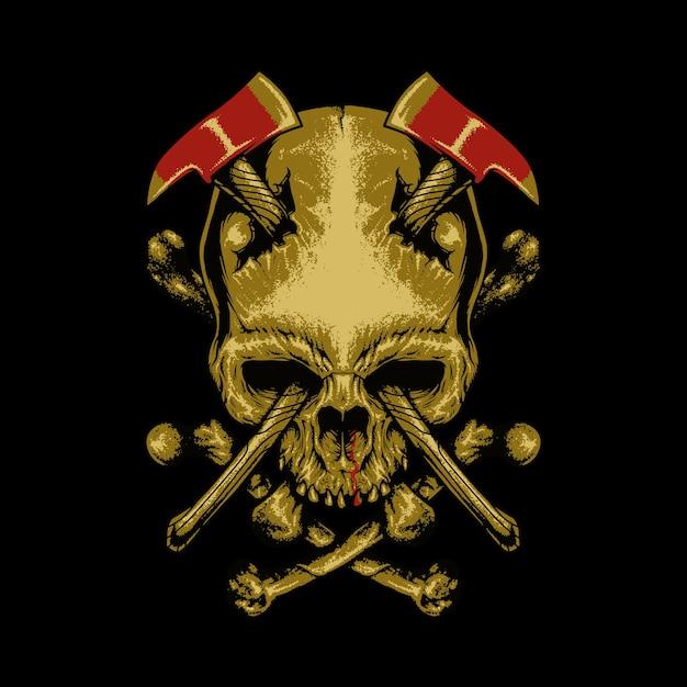 Crâne Axes Horreur Illustration Graphique Art Design De Tshirt Vecteur Premium
