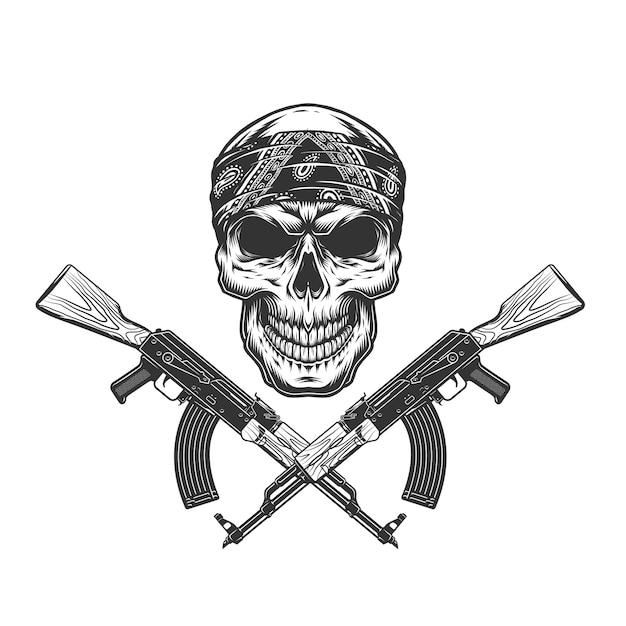 Crâne De Bandit Monochrome Vintage En Bandana Vecteur gratuit