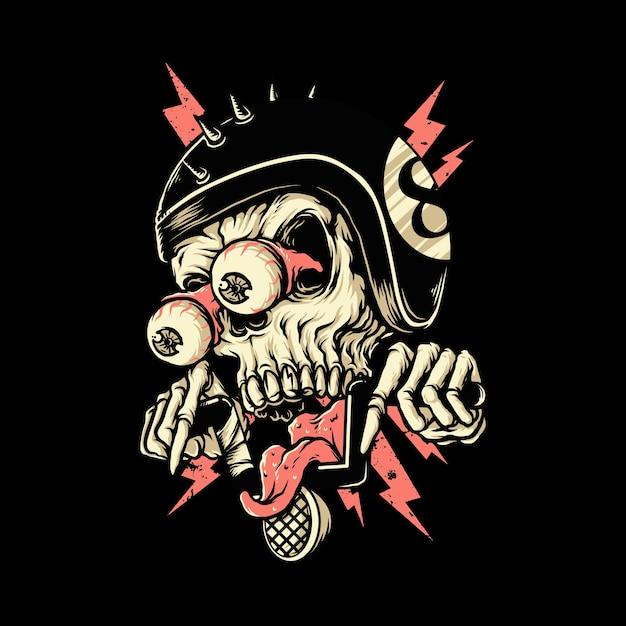 Crâne Biker Rider Horreur Illustration Graphique Art Conception De Tshirt Vecteur Premium