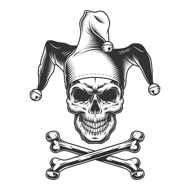 Crâne De Bouffon Monochrome Vintage Vecteur gratuit