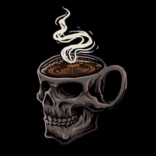 Crâne café Vecteur Premium
