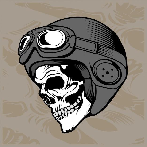 Crâne casque dessin à la main Vecteur Premium