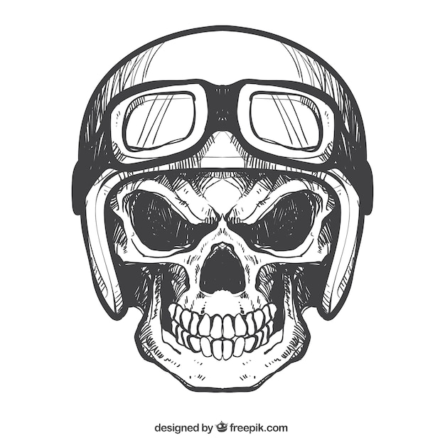 Crâne avec un casque et des lunettes dessinées à la main Vecteur gratuit