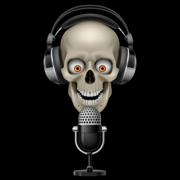 Crâne Avec Un Casque Avec Microphone Vecteur Premium