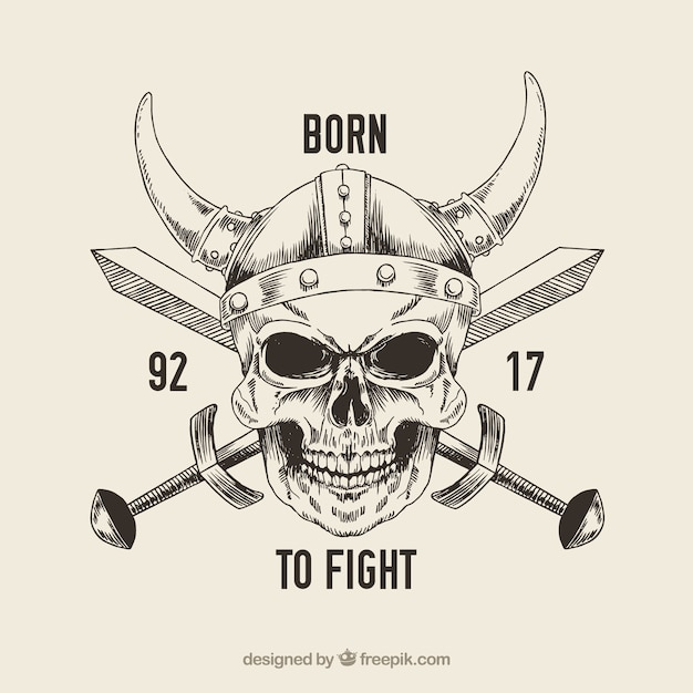 Crâne avec un casque de viking et épée Vecteur gratuit