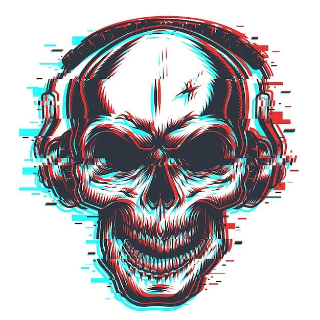 Crâne Avec Un Casque Vecteur gratuit