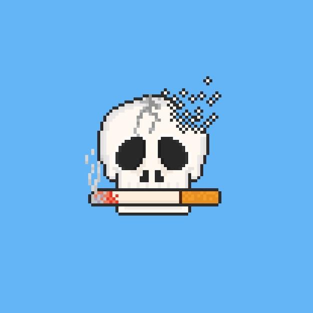 Crâne cassé de pixel avec la cigarette. 8 bits. pas de journée de tabac. Vecteur Premium
