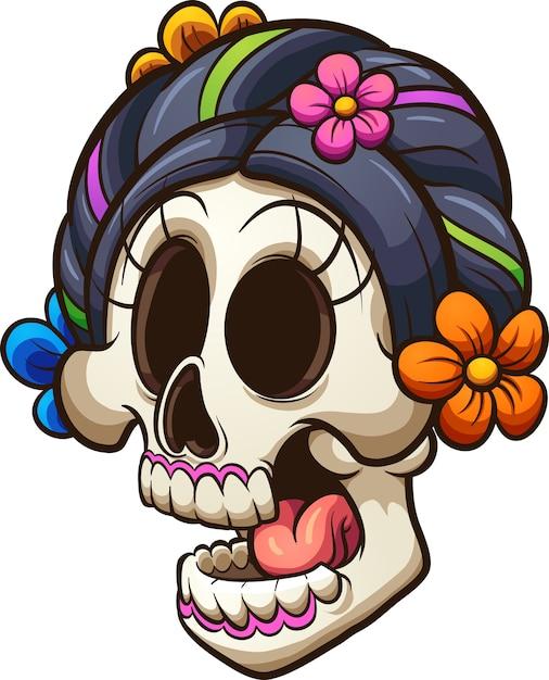 Crâne de catrina Vecteur Premium