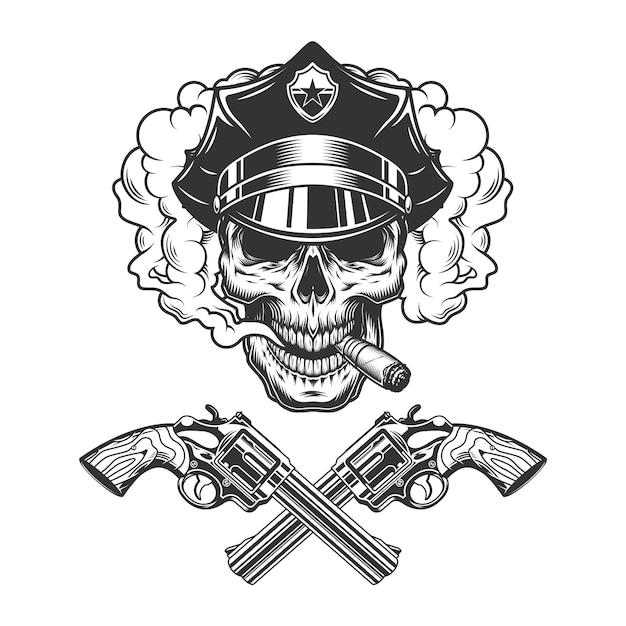 Crâne En Chapeau De Police Fumant Un Cigare Vecteur gratuit