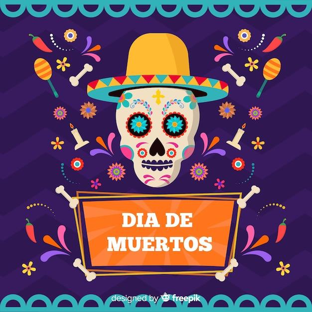 Crâne coloré avec fond de chapeau día de muertos Vecteur gratuit