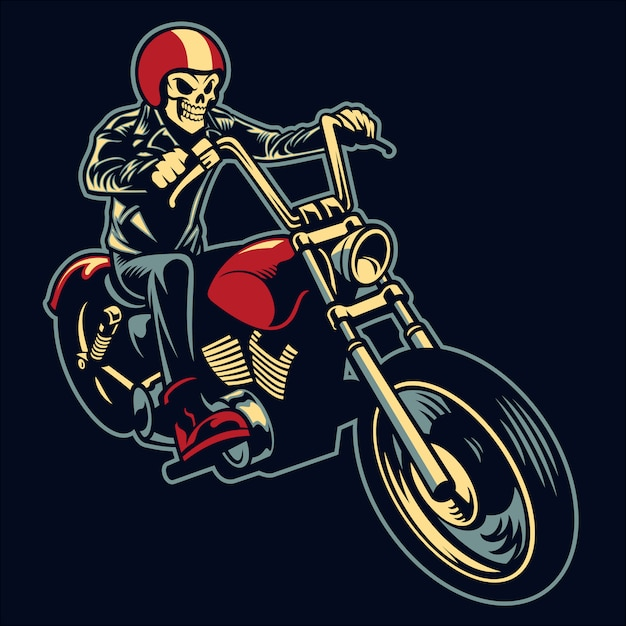 Crâne conduire une grande moto Vecteur Premium