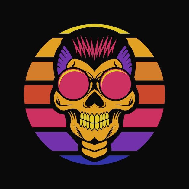 Crâne coucher de soleil illustration vectorielle rétro Vecteur Premium