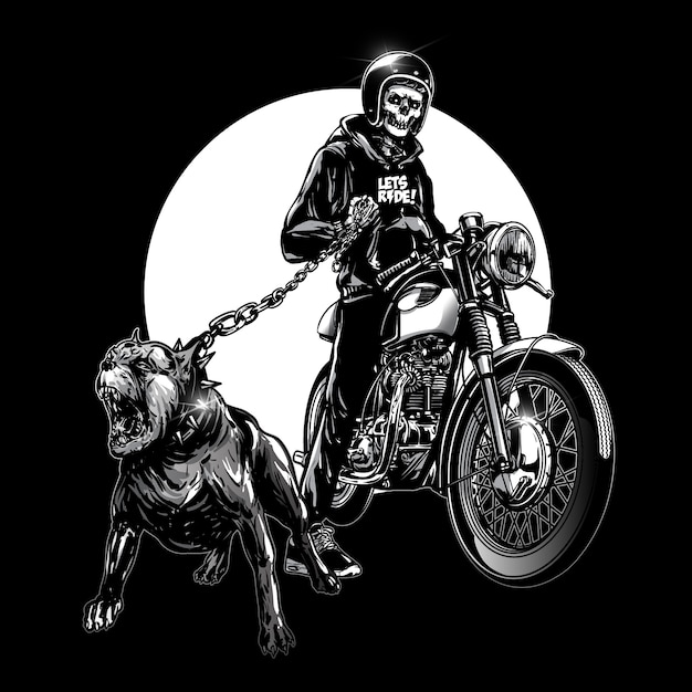Crâne coureurs avec moto vintage Vecteur Premium