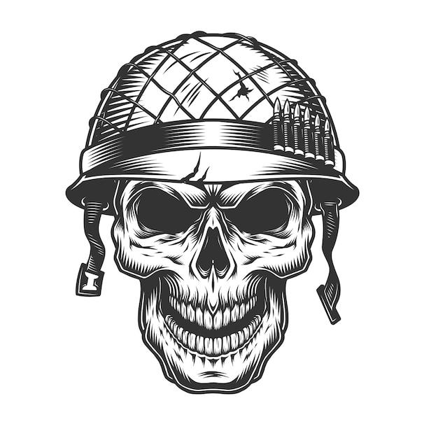 Crâne Dans Le Casque Du Soldat Vecteur gratuit