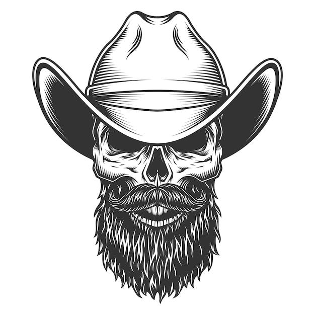 Crâne Dans Le Chapeau De Cowboy Vecteur gratuit