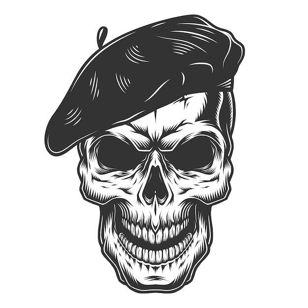 Crâne Dans Le Chapeau Du Peintre Vecteur gratuit
