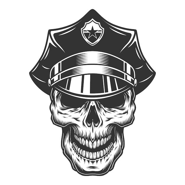 Crâne Dans Le Chapeau De Policier Vecteur gratuit