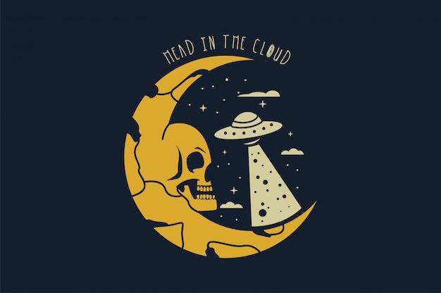 Crâne dans l'espace avec étoile Vecteur Premium